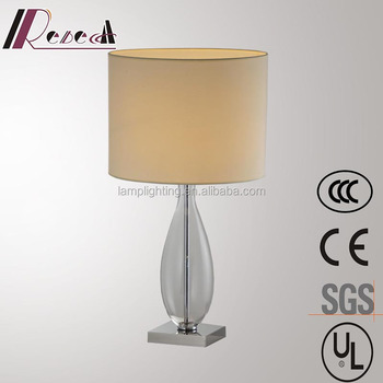 Modern Bedside Glass Table Lamp With Fabric Shade And