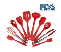 China LFGB FDA bpa free heat resistant red 10 pcs set kitchen supplies good quality high temp silicone cooking utensils