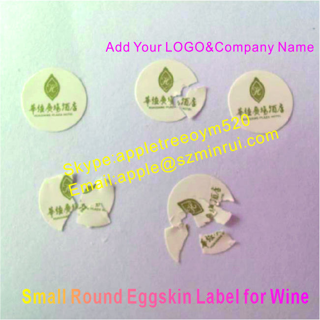 Add Your Company LOGO&Name on White Destrucitble Paper Sticker,Custom Round Breakaway Eggskin Label for Wine