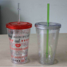 High Quality Hard Plastic Cup with Lid and Straw Wholesale with Logo Print
