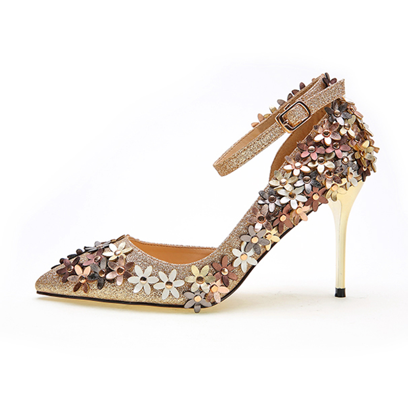 Full Flowers Decoration Glitter Strap Stiletto Pumps Pointed Toe Beautiful Lady <strong>Heels</strong>