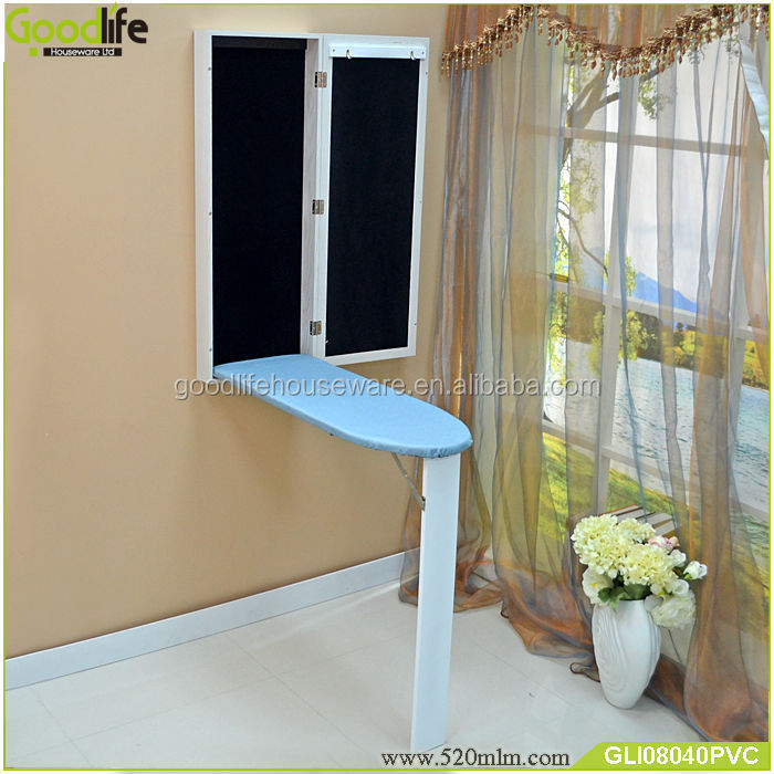 PVC material household essentials mirror cabinet with ironing board