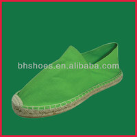 BHS095475 lady hand stitching green cheap canvas espadrille