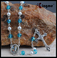 Unique 6mm Aqua Crystal Beads Mix Glass Pearl Beads Rosary Necklace