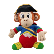 Personalized plush sit on animals toys handmade plush monkey with hat and cartoon clothes