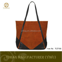2015 new arrival suede and PU block woman hand bag , handbag manufacturers china