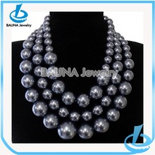 Grey bib round pearls strands wholesale for wedding decoration