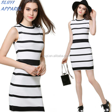Black White Stripe Sleeveless Dresses New Autumn Women Causal Vestidos Plus Size dresses for women elegant
