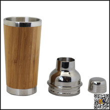 2015 new arrival cheap Bamboo custom mini stainless steel cocktail shaker set ,custom logo shaker bottle