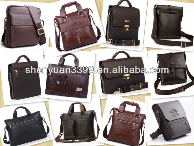 Pure cow leather briefcase laptop computer bag for business office use