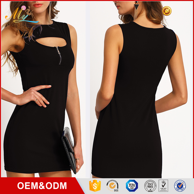 ALIbaba Hot sale new fashion Sleeveless pencil black mini bridesmaid bodycon dress