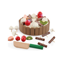 Eco-Friendly Baby DIY Pretend Role Playing Games Lovely Mini Magnetic Wooden Cake Toys