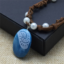 Movie Princess Moana Necklace Cosplay Pendants blue Stone Necklaces for Kids Wholesale Jewelry Nacklace