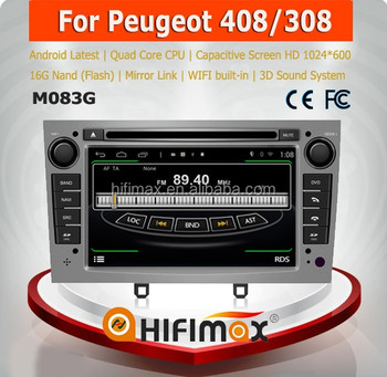 HIFIMAX Android 4.4.4 car dvd player for Peugeot 408/308 WITH Capacitive screen 1080P 16G ROM WIFI 3G INTERNET DVR SUPPORT