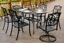 8 seater italian style dining room or outdoor swivel chair and table cast aluminium garden furniture