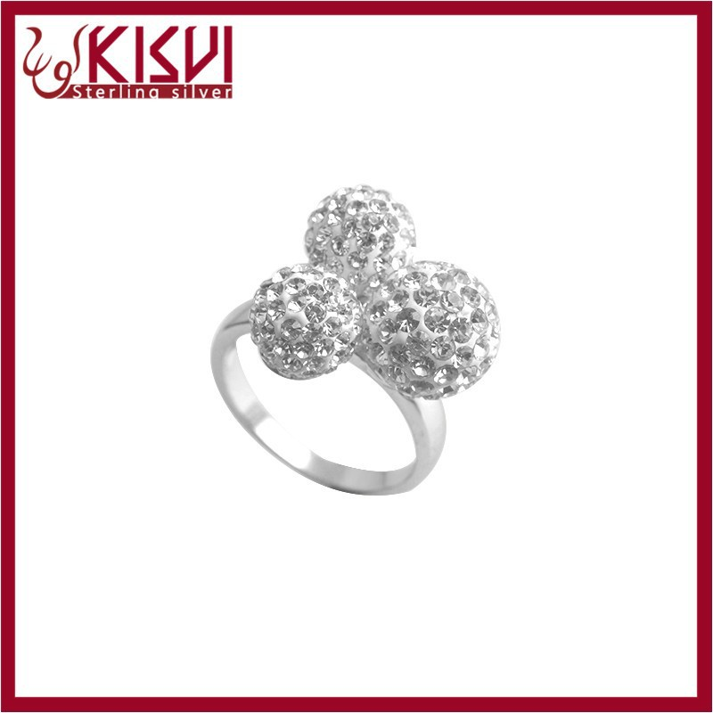 kisvi silver jewelry rodium rings with high quality white Rhinestone rings