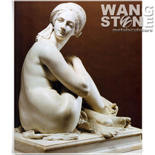 Hand Caved Nude Marble Statue of Beautiful Girl