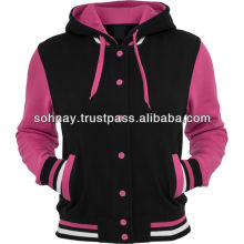 Hooded Wool Fleece Varsity Jacket