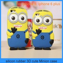 hot selling cheap price minion 3d silicone cover case despicable me minion case for iphone 6 iphone 6 plus(PT-i6208)