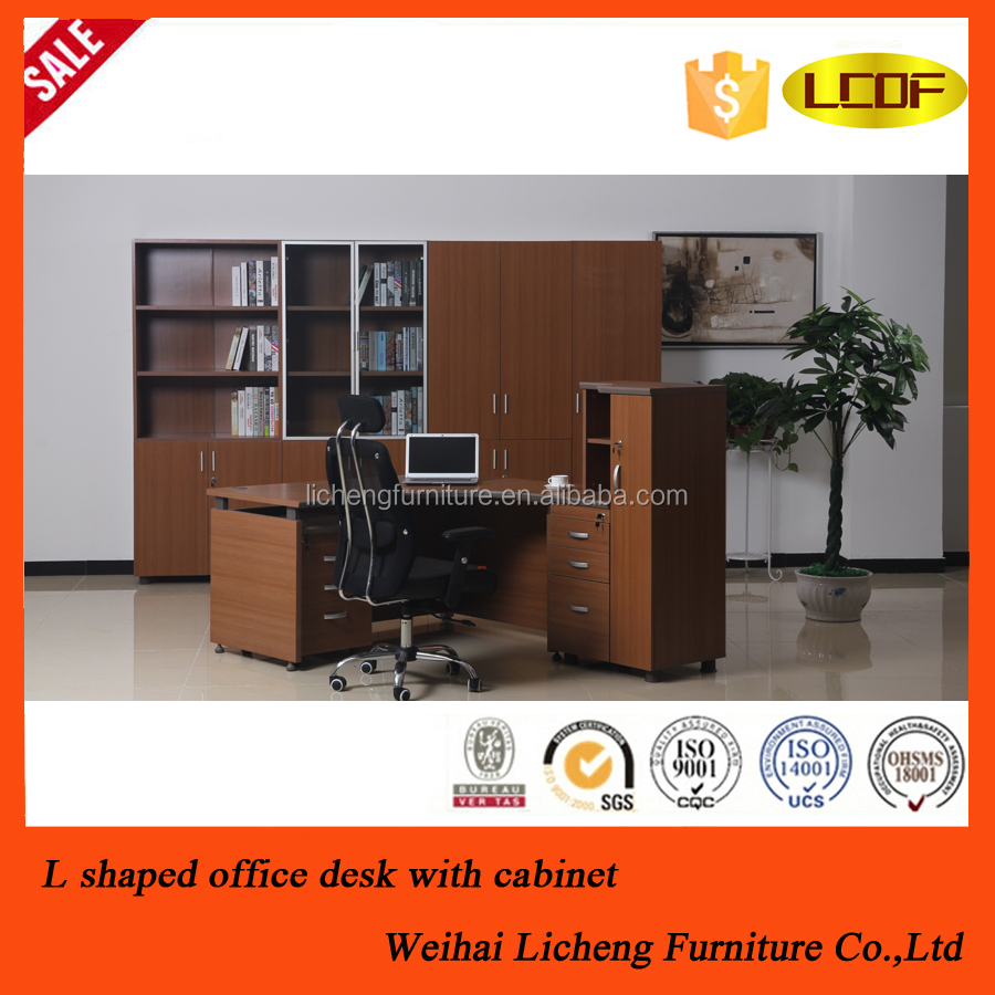 Modern office L shaped working table with side bookcase