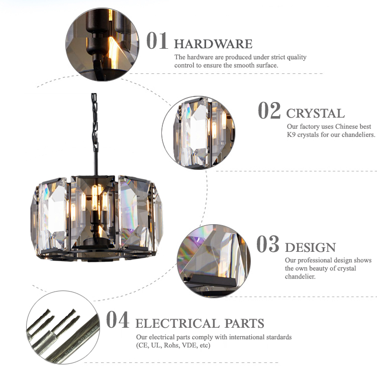 Wholesale concise style black crystal chandelier
