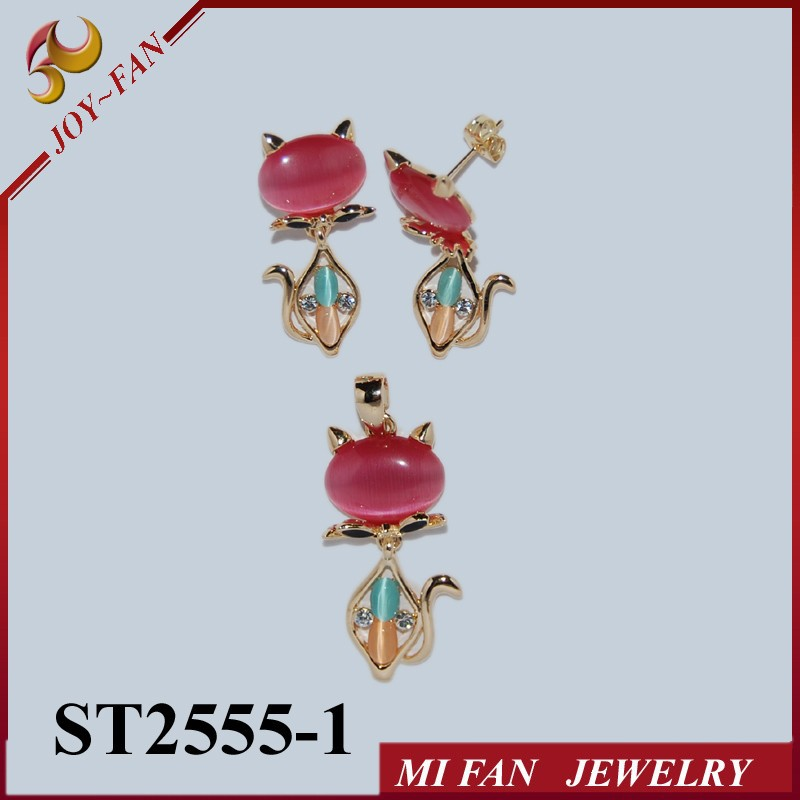 Cat jewelry sets 18K plated myanmar jewellery