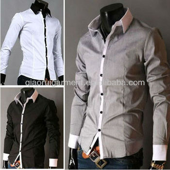 Pictures of formal shirts men 100%Cotton(Algodon) casual long sleeve Grey mens plain shirt with contrasting collar plus size