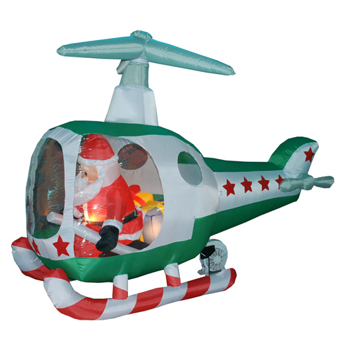 Giant Inflatable Christmas Decoration Items Western Santa Claus In Airplane