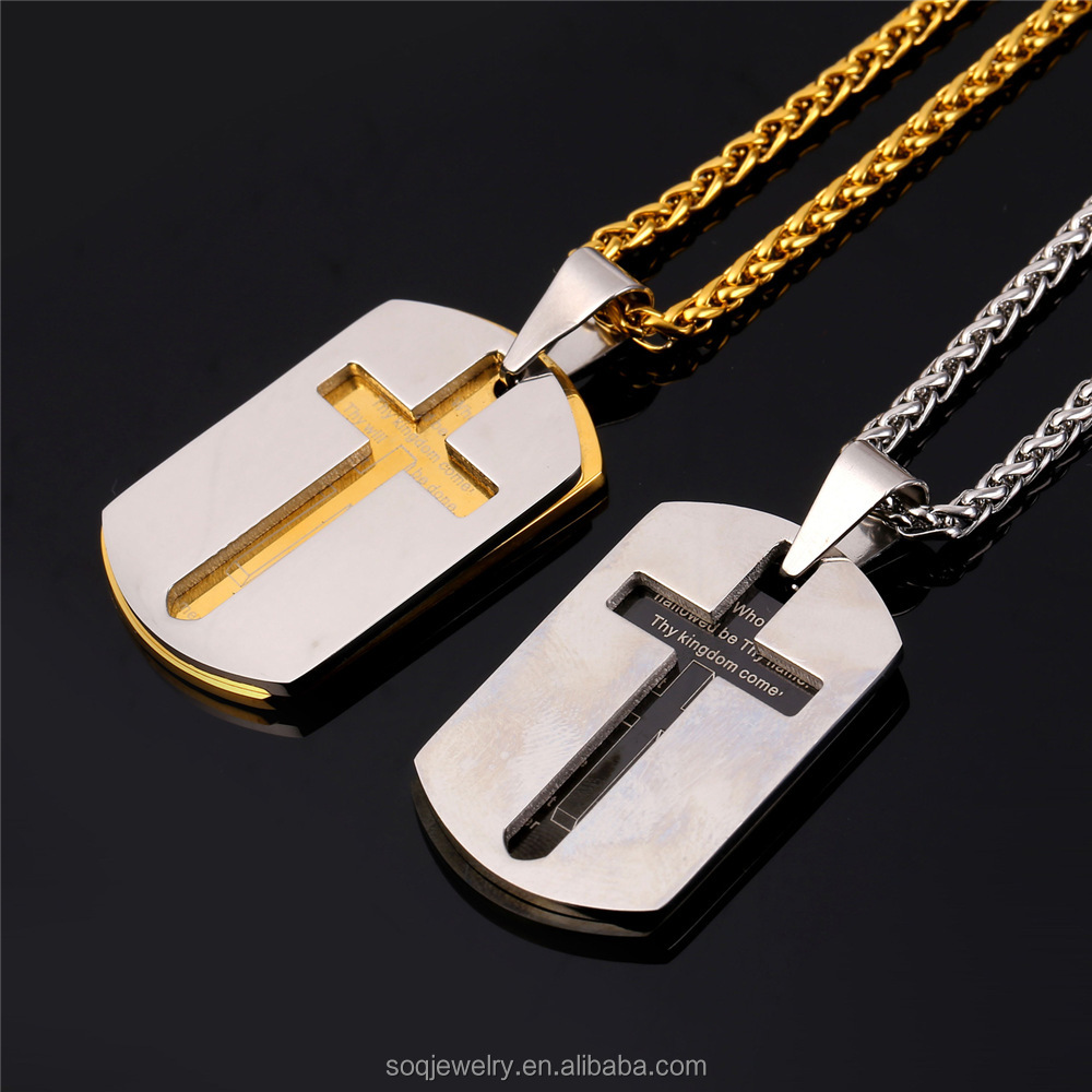 Men Bible Lords Prayer Cross Necklace Gold Plated Stainless Steel Double Dag Tags Pendants