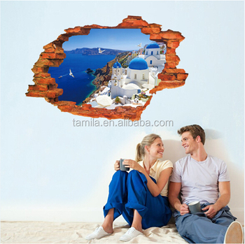 3D False window Santorini panoramic view background Scenery DIY Wall Stickers
