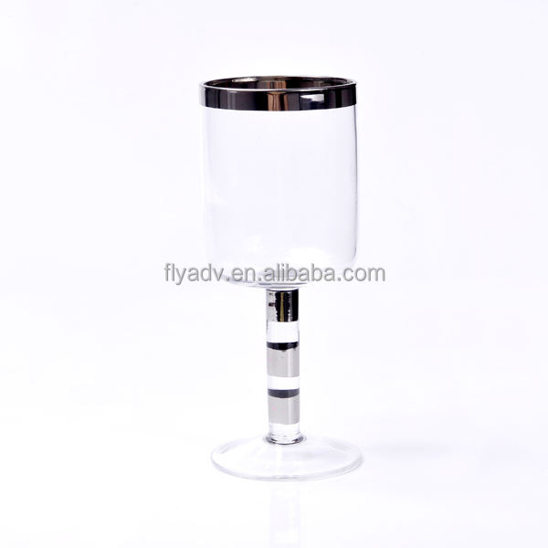 The Best Selling Silver Rim Wine Glass and The Silver Stem Wine Glass for Home Decoration