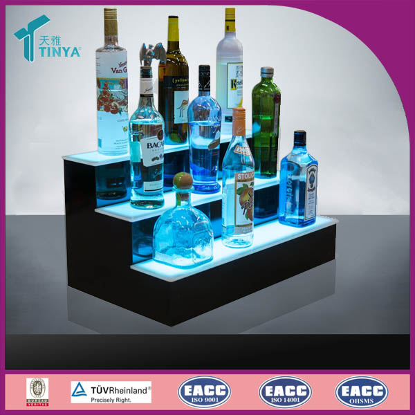 New Products Hotel Show LED Lights 3 Layer Acrylic Bottle Display Stand for Wine Showcase