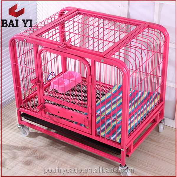 XXL Dog Crate Cage & Double Tube Dog Cage Crate With Wheels & Colored Decorate Dog Crate