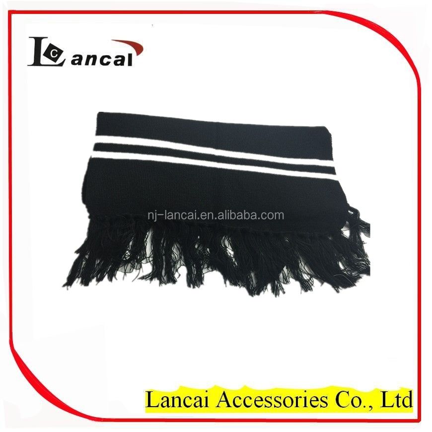 Fashional Acrlylic Men's Black Stripe Scarf With Tassels