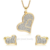Lady's Multi Gems Clay Paved Heart Shaped Stainless Steel Fashion Jewelry Set
