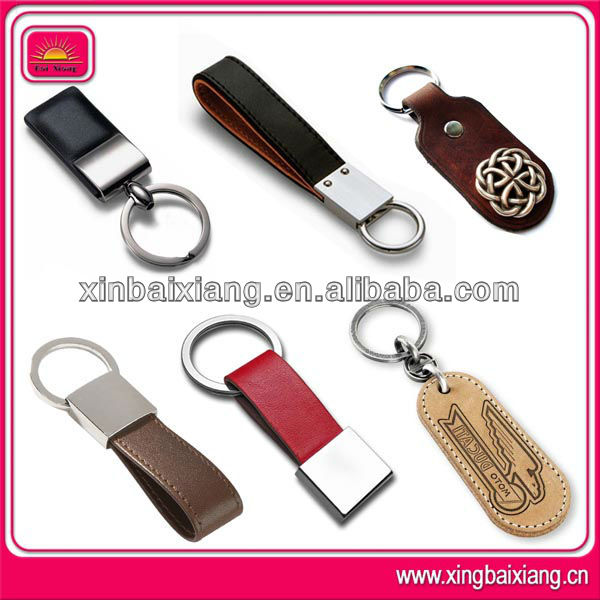 wholesale promotional gift custom clasp blank metal leather keychain