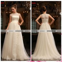 2014 New Cap Sleeve Big Tulle Skirt Floor Length Beaded No Train Wedding Dress