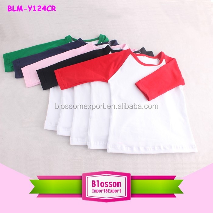 Adult Raglan T Shirt Two Color Baseball Blank Tee 3/4 Sleeve T Shirt Wholesale