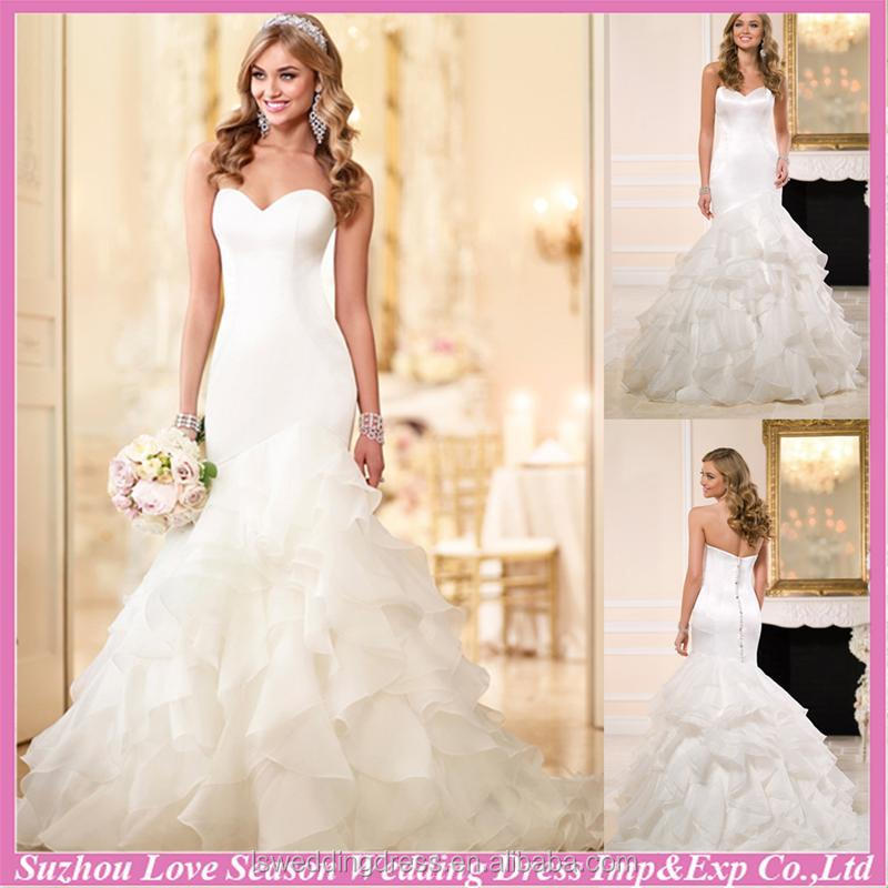 WD7612 Hot selling with great price white color strapless bonned top ruffled organza skirt big discount mermaid wedding dress