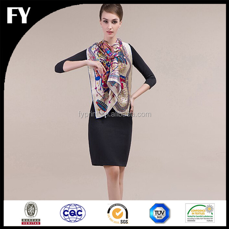 Factory direct custom design high quality digital printing airline scarf