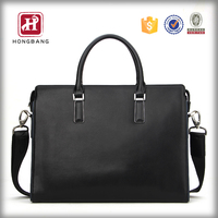 Premium Leather Men's Handbag Dark Black Leather Business Briefcase