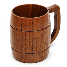 16OZ Wooden beer drinking mug healthy use cup with handle