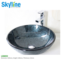Bathroom artistic tempered glass vessel sink, modern round tempered glass bowl in vanity texture
