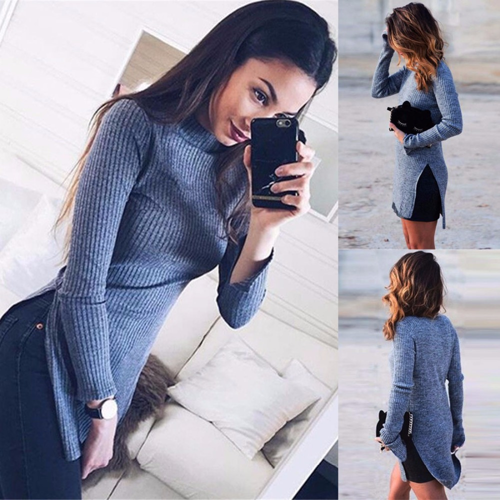 Autumn Winter Women's Stylish Long Sleeves Slim knit Tops and Blouse
