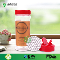 butterfly top flip cap round shape 9oz spice jar 250ml empty clear bulk sale food grade bpa sample free plastic pet spice bottle