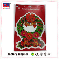 Christmas wreath static cling window decals for holidays decor
