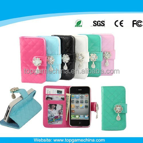 Leather belt clip flip wallet case for iphone4 Crystal phone case