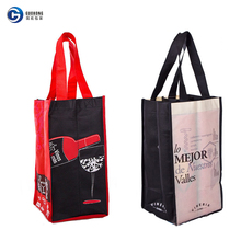 Wholesale cheap jute non-woven 4 wine bottle bag withA custom logo