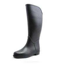 Hotsales New Style Black Leather Horse Riding Boots Women PVC Rain Boots