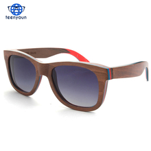 2016 New Summer Fashion Handmade Polarized Wooden Frame SunGlasses Men Women Vintage Unisex Wood Polarised Sun glasses Eyewear